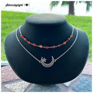 Double layer necklace moon & star carnelian gems